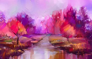 Olieverfschilderij kleurrijke herfst bomen. Semi abstract beeld van bos, landschappen met geel - rood blad en meer. Herfst, herfst seizoen natuur achtergrond. Met de hand geschilderd impressionistisch, buitenlandschap