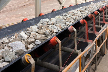 Raw Material on Conveyor Belt before being Crushed at Copper Mine in Northern Chile