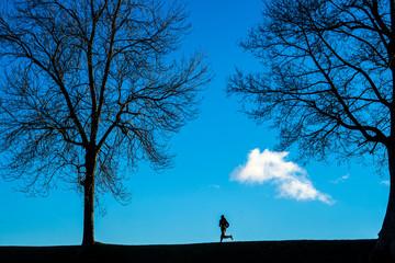 Silhouette of man jogging