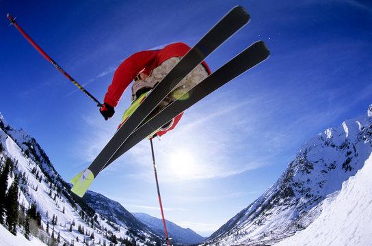 A man skiing at Snowbird, Utah.