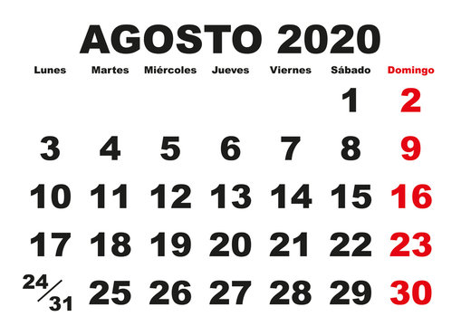Agosto 2020 wall calendar spanish