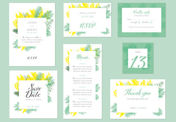 Wedding Suite with Green and Yellow Floral Accents