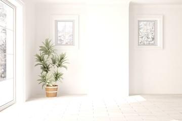 White minimalist empty room. Scandinavian interior design. 3D illustration