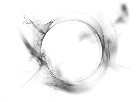 Ring of gray smoke isolated on white background