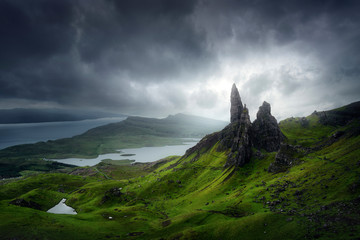 Landscape with Old Man of Storr and storm clouds, Isle of Skye Fotoväggar