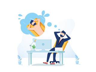 Business man is relaxing and dreaming about surfing and vacation on a tropical island at his work place. Modern office