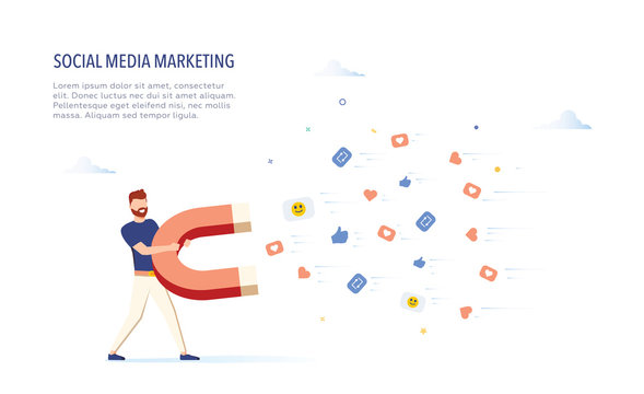 Businessman attracting likes signs with a huge magnet. Social media marketing concept. Modern vector illustration.