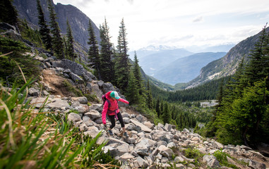 Woman hiking in Garibaldi Provincial Park, British Columbia, Canada