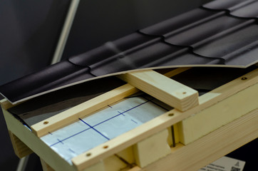 Close-up of roof construction .in a cut.