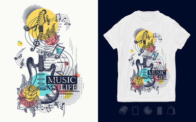 Electric guitar, roses and notes. Zine culture style. Symbol of rock festivals. Music my life slogan. Print for t-shirts and another, trendy apparel design