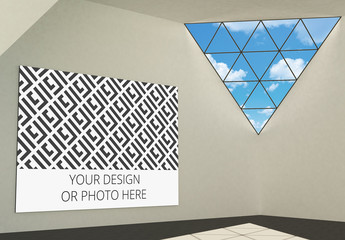 Exhibition Gallery Mockup with a Horizontal Image Placeholder