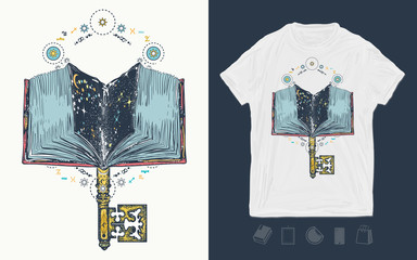 Open magic book and vintage key. Print for t-shirts and another, trendy apparel design.  Symbol of education, literatures, poetry, reading Wall mural