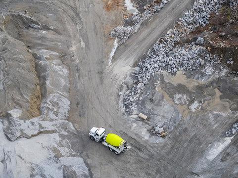 Aerial view of concrete mixer truck, Atlanta, Georgia, USA