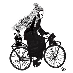 silhouette of girl riding bicycle