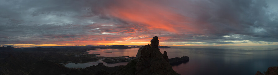 Panoramic view of San Carlos from Tetakawi peak in Sonora, Mexico