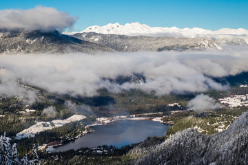 Lake and mountains in winter, Whistler, British Columbia, Canada