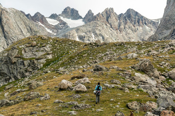 Woman hiking in Titcomb Basin, Wind River Range, USA