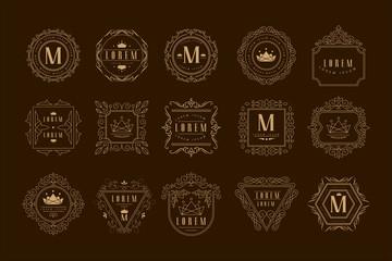 Monogram logo template set, golden heraldic badge with calligraphic elegant ornament elements vector Illustration