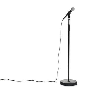 Stand with modern microphone on white background