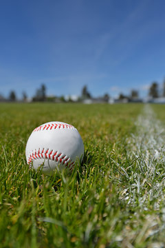 A baseball on grassy field