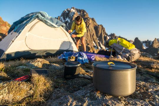 A Woman Preparing For Camping On Blaine Peak Below Mount Sneffels