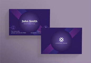 Purple Business Card with Geometric Elements