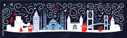 Modern flat horizontal illustration Istanbul with silhouette of