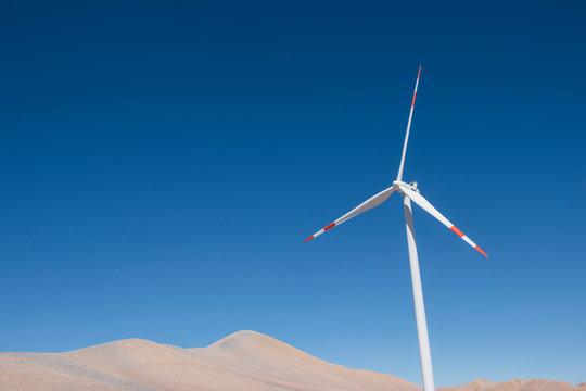 Wind turbine in Atacama Desert near Calama, Antofagasta Region, Chile