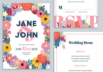 Wedding Suite Layout with Colorful Flower Illustration and Pink Accents