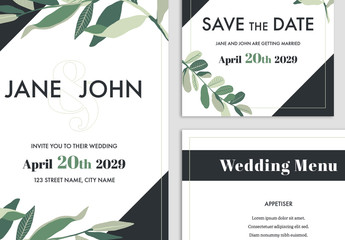 Wedding Suite Layout with Green Leaf Elements and Dark Grey Accents