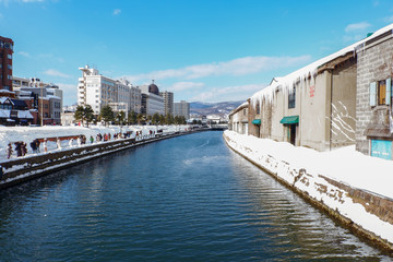 Otaru canal in winter, Hokkaido, japan