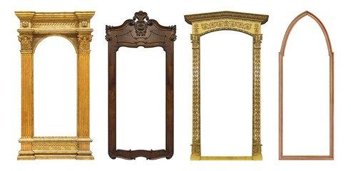 Set of golden and wooden panoramic frames for paintings, mirrors or photos