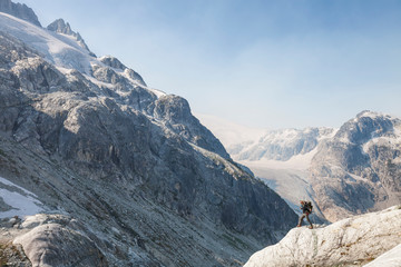 Man mountaineering in Coast Mountain Range, British Columbia, Canada