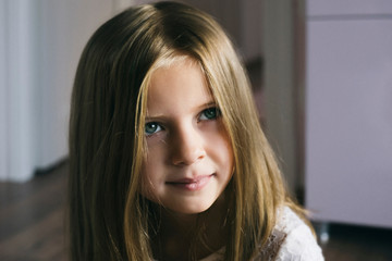Beautiful baby with long hair