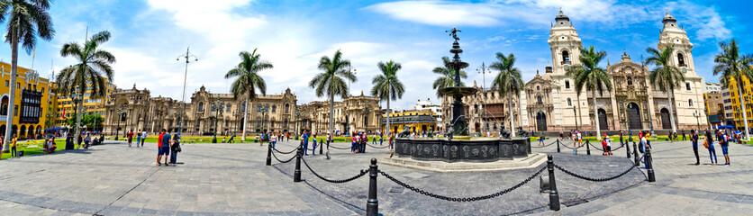 Panorama of the Plaza de Armas - Lima in Peru