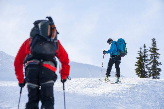 Men cross-country skiing, North Cascades National Park, Washington State, USA