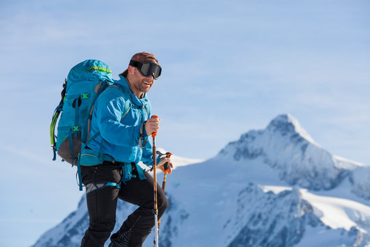 Man cross-country skiing, North Cascades National Park, Washington State, USA