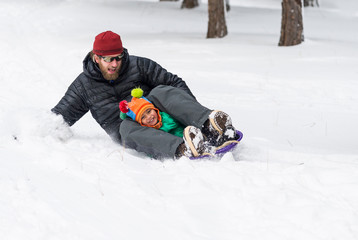 Father and son about to crash their sled