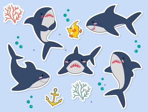 Ideal for stickers, pins or patches. Funny sharks catoon characters with fish, seaplant, bubbles in vector