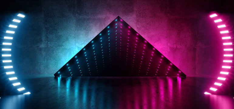 Neon Glowing Led Laser Virtual Reality Optical Illusion Infinity Glow Mirror Box Grunge Concrete Reflective Room Fluorescent Vibrant Blue Purple Glowing Lights Abstract Gallery 3D Rendering