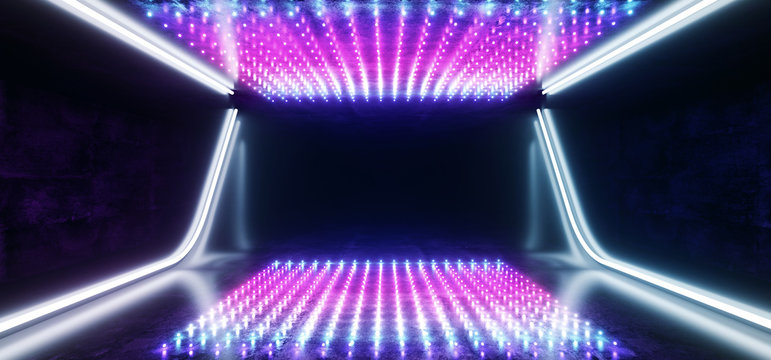 Hi Tech Dots Neon Laser Tech Background Dark Reflective Room Glowing Purple Blue Vibrant Fluorescent Virtual Reality Empty Space Ship Corridor Tunnel Garage 3D Rendering