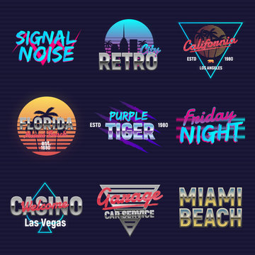 Set of retro outrun neon logos. Neon logo designs. 9 Vector retro 80's logos set. Retro prints for T-shirt, typography.