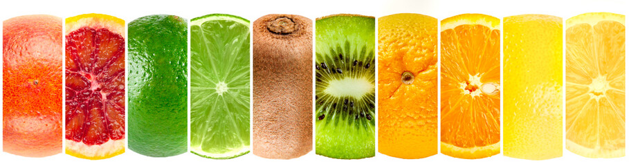 Panorama collection of whole and cut tropical fruits