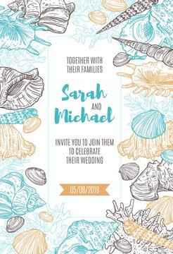 Seashells and corals frame on wedding invitation