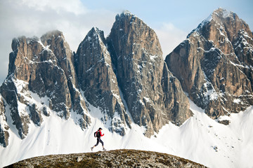 Trail running in Italian Dolomites, Italy