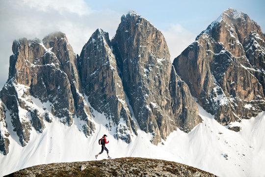 Trail running in Italian Dolomites, Italy