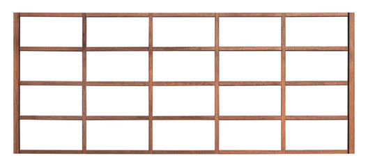 Japanese wood window frame isolated on white background, empty traditional vintage style large wooden pane for interior restaurant design