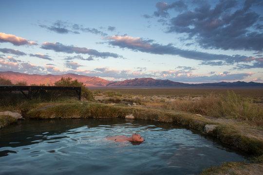 Man bathing in hot springs