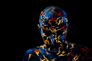 Man's  Face Painted in Neon UV Lava