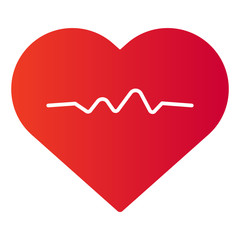 Heart pulse flat icon. Heartbeat color icons in trendy flat style. Cardiogram gradient style design, designed for web and app. Eps 10.